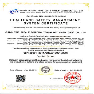 OHSAS18001-2007職業衛生安全管理システム認証証明書20190710